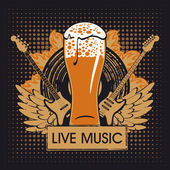Pub with live music — Stock Vector