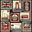 British postage stamps — Vettoriali Stock