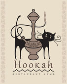 Hookah and cat — Stock Vector