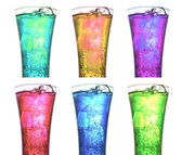 Glasses of carbonated drink collections — Stock Photo