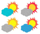 Sol nube arrugado papel — Foto de Stock