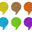 Crumpled paper speech bubble stick on white — Stock Photo