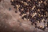 Caffè su legno sfondo grunge — Foto Stock