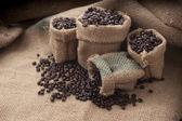 Koffiekopje en bonen op een witte achtergrond. — Stockfoto