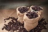 Kahve fincanı ve beyaz zemin üzerine fasulye. — Stok fotoğraf