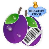 Plum pictogram met barcode door gezonde voeding. vectorillustratie — Stockvector