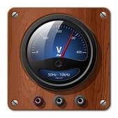 Icono de voltímetro vectorial en una placa de madera — Vector de stock