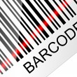 Closeup barcode with red laser beam. Vector illustration — Vektorgrafik