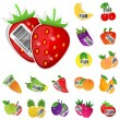 Stock Vector: Fruits and vegetables icon set. Vector illustration