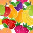 Fruits seamless background. Vector pattern — Stock Vector