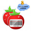 Healthy food icon from paper tomatoes stickers. Vector illustration — Stock Vector #12679209