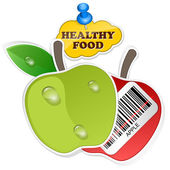 Apple icon with barcode by healthy food. Vector illustration — Stock Vector