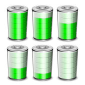 Battery levels icons set. Vector illustration — Stock Vector