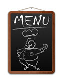 Blackboard with menu inscription and outlined chef. Vector — Stock Vector