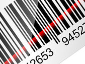 Closeup Barcode sticker with red laser beam. Vector illustration — Stock Vector