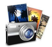 Compact photo camera and photos. Vector illustration — Stock Vector
