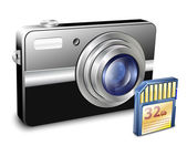 компактный фотоаппарат с памяти card. векторные иллюстрации — Cтоковый вектор