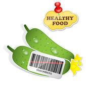 Hälsosam mat ikonen från papper gurkor klistermärken. vektor illustra — Stockvektor