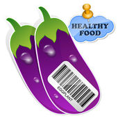 Icon eggplants with barcode by healthy food. Vector illustration — Stock Vector