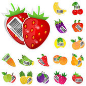 Fruits and vegetables icon set. Vector illustration — Stock Vector