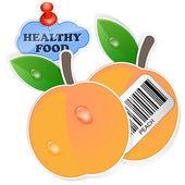 Brzoskwinia ikona z kodem kreskowym i zdrowej żywności naklejki. wektor ilustr — Wektor stockowy