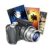 Photo camera and photos. Professional vector illustration — Vector de stock