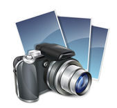 Photo camera and photos. Vector illustration — Stock Vector