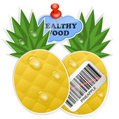 Pineapple icon with barcode and healthy food sticker. Vector ill — Stock Vector