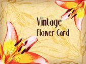 复古花卉卡。矢量插画 — 图库矢量图片