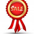 Golden SALE tag with ribbons, vector — Imagen vectorial