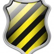 Vector Protection Icon - Glossy Black and Yellow Shield — Stock Vector