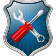Vector service icon - shield with screwdriver and wrench — Stock Vector #13336745