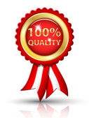 Golden 100 percents QUALITY tag with ribbons, vector — Vetorial Stock
