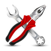 Pliers and Wrench Icon. Vector illustration — Stock Vector