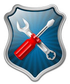 Vector service icon - shield with screwdriver and wrench — Stock Vector