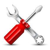 Icône tournevis et une clé. illustration vectorielle — Vecteur