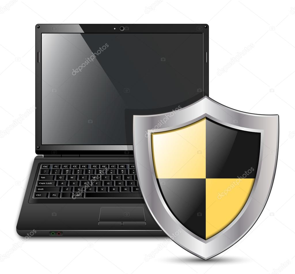 Vector illustration of laptop with protective shield — Stock Vector #13336749
