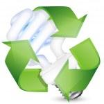 Энергосберегающие люминесцентные лампы с recycle знак. Вектор я — Cтоковый вектор