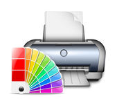 Printer icon with color palette. Vector Illustration — Stock Vector