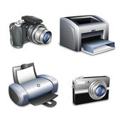 Set of photo cameras and printers. Vector — Stock Vector