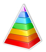 Color layered pyramid sticker. Vector illustration — Stock Vector