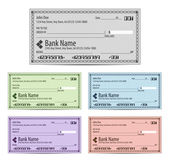 Vector illustration of blank bank checks in different colors — Stock Vector