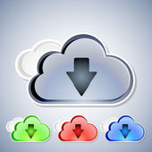 Cloud computing download icons set — Stock Vector