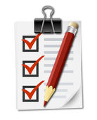 Checklist and pencil — Stock Vector