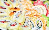 Appetizing tasty Japan rolls and sushi assortment — Stock Photo