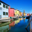 Venice, Burano island, small brightly-painted houses and channel - Stock Photo
