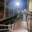 Venice street at night, Italy — Stock Photo