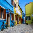 Venice, Burano island houses - Stock Photo