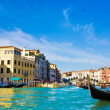 Venice Grand canal with gondolas and Rialto Bridge, Italy — Stock Photo #22460205