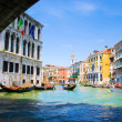 Venice Grand canal with gondolas and Rialto Bridge, Italy — Stock Photo #22460247